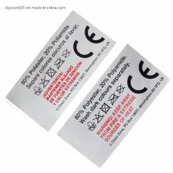 الأزياء طباعة مخصصة شعار العلامة التجارية الرئيسية العلامات التجارية مركز مطوية الغسيل ملصقات العناية بالستان لعنق التعليمات الخاصة بقمصان تي شيرتس
