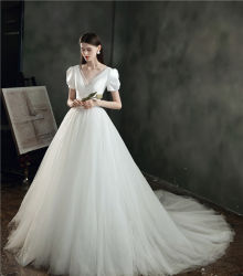 Hwd012 de la luz de raso de novia vestido de novia
