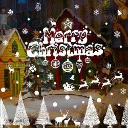 PlastikSchneemann-Weihnachtsfenster-Aufkleber-frohe Weihnacht-Wand-Aufkleber-Fenster-Glas-Festival-Abziehbilder