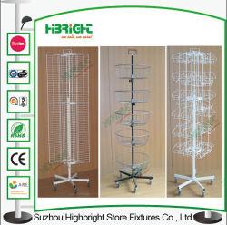 Quatro Lados do fio de calendário rotativo Piso Rack de Exibição da Cesta