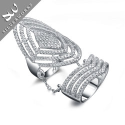 925 Piedras Preciosas Plata esterlina Plata Anillo de Lady encanto