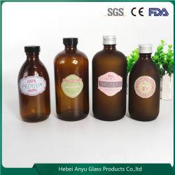 Runde freie bernsteinfarbige pharmazeutische Glasflaschen-Sirup-Flasche mit Schutzkappe