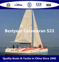 Bestyear 33FT Voile Catamaran bateau en fibre de verre pour 35 passagers
