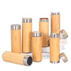 2020 Smart Bambus Wasserflasche Doppelwand Edelstahl Flasche Bamboo Thermos mit LED-Temperaturanzeige