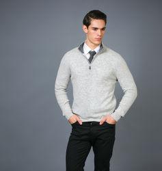 Hombre de lana Cashmere Zip-up High-Neck Suéter de puente con extractor de cuero