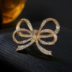 蝶装飾 Brooch AAA CZ 白 / 金めっきの方法 925 シルバージュエリー