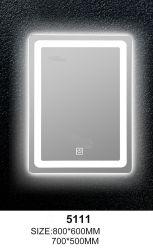 Smart LED Pantalla táctil de vidrio de reloj de pared espejo del baño de temp.