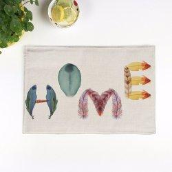 L'alphabet coloré Shseja Feather coutellerie Pad draps en coton Linge de Maison Tapis Salon Salle à manger Cuisine Décorations de table Coussins