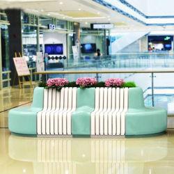 S691 Asiento de fibra de vidrio y decoración maceta silla para sentarse con maceta de Banco Exterior silla público