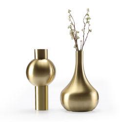 Bloemen van de Vaas van het Metaal van de Borstel van de Decoratie van het huis de Met de hand gemaakte In het groot Gouden