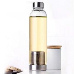 Garrafa de água de vidro personalizados personalizados com a luva e Tea Infuser Tampa de aço inoxidável cintilante Heat-Resistant unissexo vaso único vaso de vidro transparente para o chá