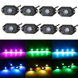 Proyector RGB LED de luz de trabajo, la conexión móvil, simple moda, el efecto de bricolaje-8 Pod Multicolor Roca RGB LED de luz con control Bluetooth
