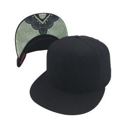 De façon personnalisée capuchon plat tous les 6 panneaux d'impression noir Casquette de baseball Snapback Hat
