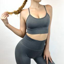 Commerce de gros Les femmes sexy Soutien-gorge sport yoga Tank Top Fitness Gym Shirt personnalisé pour les filles Seamless