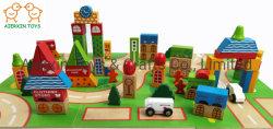 La ciudad de madera con coloridos bloques de construcción de vehículos y terreno Boards impreso