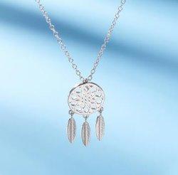 Dream Catcher Collar S925 Sterling Silver pluma hueco de la cadena de la Clavícula Mujer Accesorios fresca pequeña