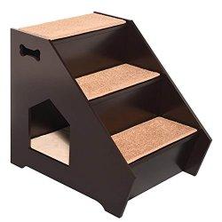Novo Design 2020 Cat&Dog Passo Madeira House - Pet de madeira escadas W/ 3 Solas antiderrapantes Passos, construída em casa para cães, gatos e animais de estimação curto para chegar a cama, sofá, janela