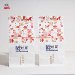 حقيبة بلاستيكية مغذية ذات أسعار جيدة باللون البني/الأبيض/الطوف كيس ورقي للطعام مع طباعة الشعار