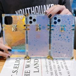 Bling transparant transparant Goud Rivet vierkante trunkshell hoes voor Apple iPhone 7 8 X xr. 11 12 PRO Max luxe tas