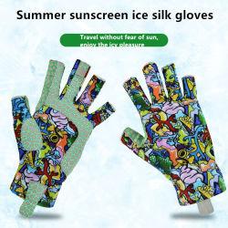 Venda por grosso de toque de seda de gelo UV Verão desportos ao ar livre luvas de Equitação