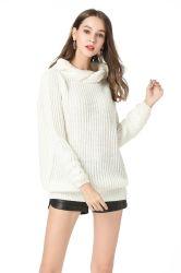 Turtleneck-Pullover-Strickjacke-Frauen-Form-Kleid-beiläufige Winter-Strickwaren