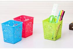공급 조직자, 플라스틱 꽃 디자인 사각 펜 또는 연필 홀더 책상 조직자
