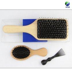 高品質のエアクッションの剛毛の毛のPVCボックスが付いている木のヘア・ブラシ