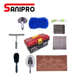 Sanipro 10PCS 차 청소 연장 모음 세차 연장 모음 Microfiber 청소 피복 세척 갯솜 Windows 물 잎 타이어 솔 장비