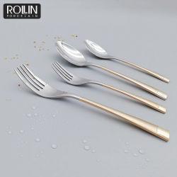 호텔을%s 새로운 디자인 금 손잡이 스테이크 나이프 테이블 포크 그리고 수프용 숟가락