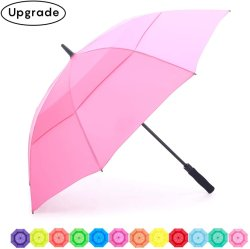 Con protección UV Color sólido doble canopia Windproof Upf 50+ la apertura automática y manual Cerrar 55en paraguas