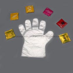 Commerce de gros de couleur bleu jetable PE ou Poly gants avec gant gaufré PE bleu clair