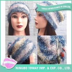 Chapéu Morno do Knit de Lãs do Fio da Pena das Mulheres do Tampão do Inverno