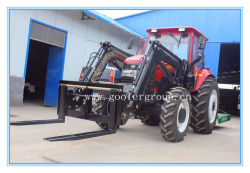 DQ904 Tractor con Pallet Fork, 4in1 Loader, Slasher Mower, Post Hole Digger, Hay Baler, Box Blade, Snow Blower etc.90HP, 4WD