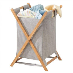 Bamboo Wood Wasmand Sorter Cart draagbaar en inklapbaar opvouwen Kleding Mand opslag met verwijderbare Poly Cotton Liner Fabric Bag X-frame