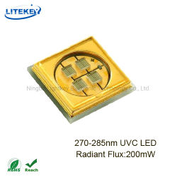 공기 살균과 소독을%s RoHS를 가진 높은 빛난 유출 200 MW 275nm 280nm UVC LED