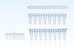 Witte PCR-buisjes met 8 strips en optische halfbolvormige 8-strips Voor laboratoriumgebruik