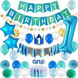 Ensemble de ballons d'anniversaire bleus avec ensemble Papier POM POM bleu