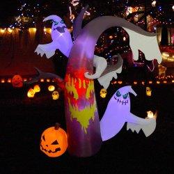 Halloween 훈장 Inflatables 중국 공급자에게서 자전 빛을%s 가진 죽은 나무 유령 나무 호박