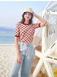 女性の`Sの短い袖は愛パターンが付いている適当なセーターを細くし、