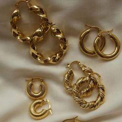 Moda personalizzata Gold Twisted Stud in acciaio inox dichiarazione Huggie Gold Orecchini a cerchio Donna