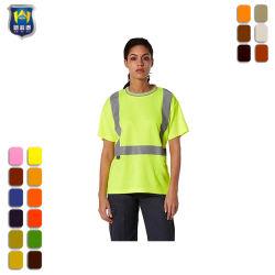 Vestuário de segurança Hi-Vis mulheres T-shirt Amarela