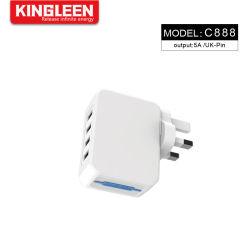 5A 4 ports USB Chargeur mural avec UK l'axe et la technologie Smart chargeur de voyage pour téléphone mobile
