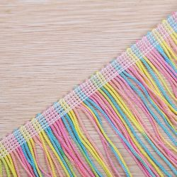 Großhandelspolyester-Regenbogen-Franse-Troddel der qualitäts-15cm für Kleid