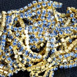 Rame di cristallo dei Rhinestones di Strass del testo fisso della catena della tazza dell'oro del Rhinestone Ss10
