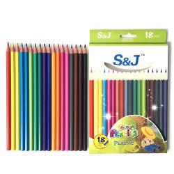 La coutume en plastique à tête hexagonale 7 pouces Mini 18 Dessin couleur ensemble crayon pour les enfants