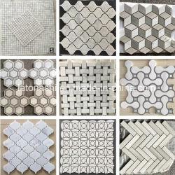 床のためのポーランドか、または転落させたまたはカラーラの白か六角形または石の大理石のタイルのモザイクか壁または浴室またはBacksplashまたは表またはパターン