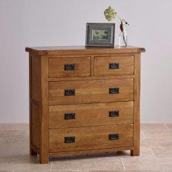 Cassa rustica del cassetto di legno solido 2+3 della quercia dell'annata
