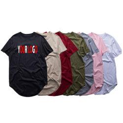 Kundenspezifische Großhandelsform druckte Mann-T-Shirt aufgerundete untere unbelegte Baumwollshirt-Drucken-Sport-Abnützung, die weißer Stück-Hemd-Entwurf normales Longline-Mann-T-Shirt besitzen
