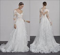ثوب الزفاف على شكل V-neck ثوب الزفاف الطويلة Sleeves Lace Beach bowho الزفاف SA98