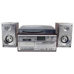 Vinil Desonic Multi Media Player com alto-falantes externos, SD USB cassete reproduzir& Gravar CD, rádio